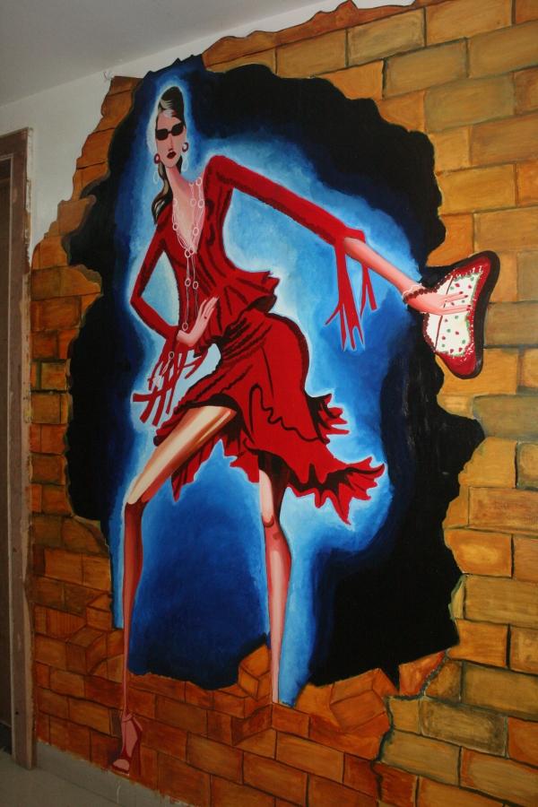 3D Fashion Illustration On Wall