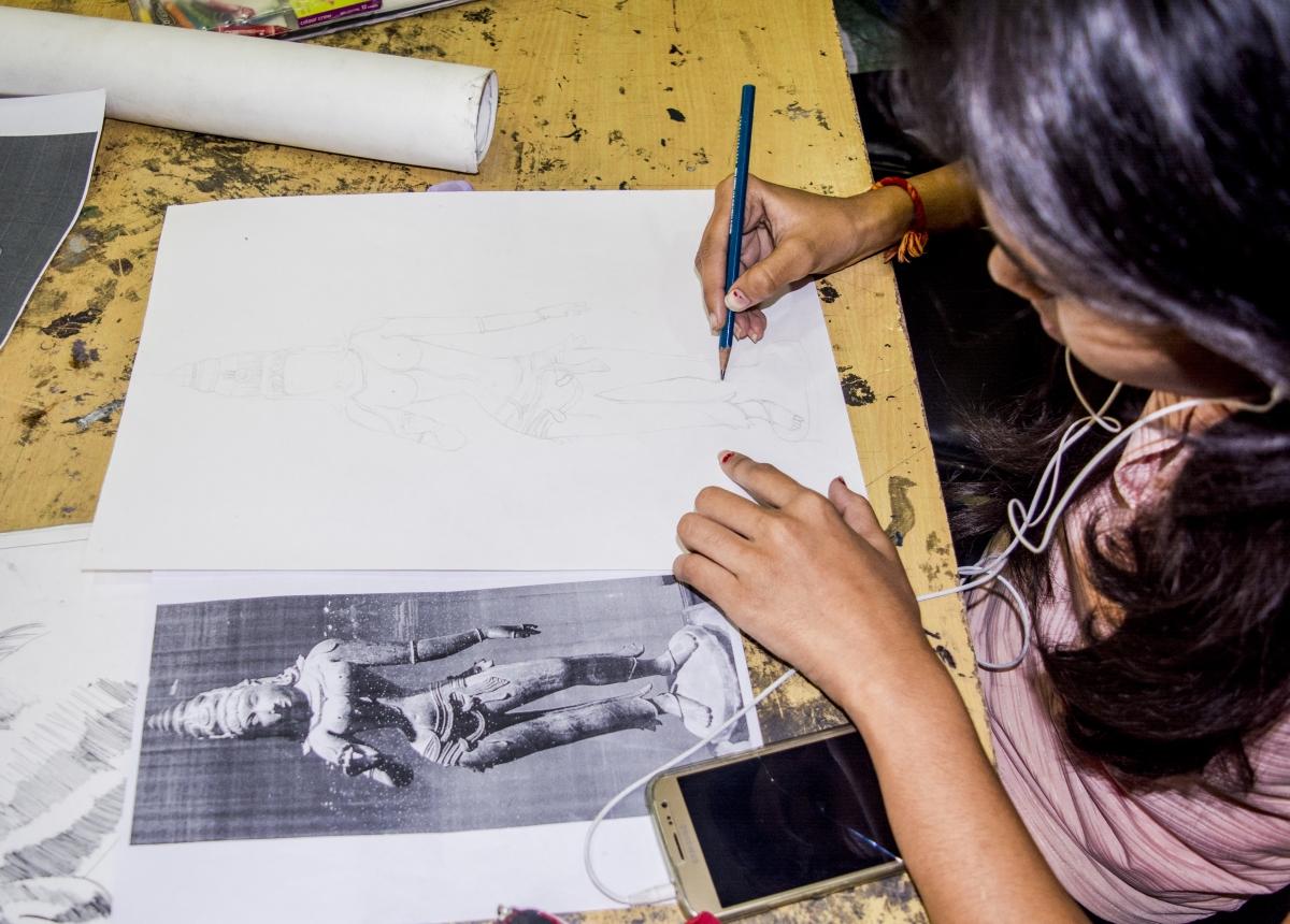Sketching on Khajuraho Statue